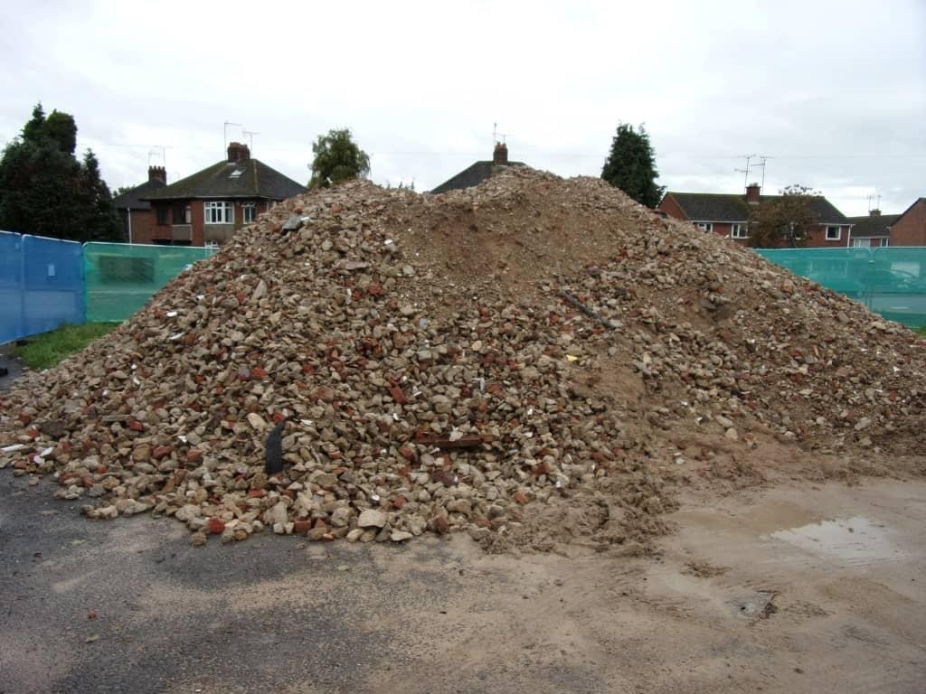 Crushed pile of rocks