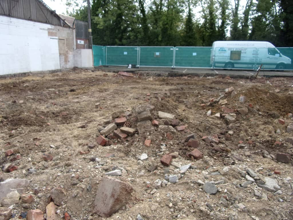Mud in place of where building foundations were removed