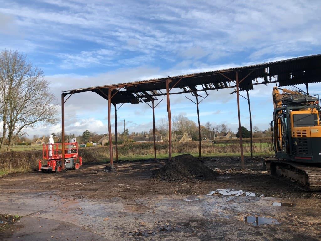Fire damaged barn