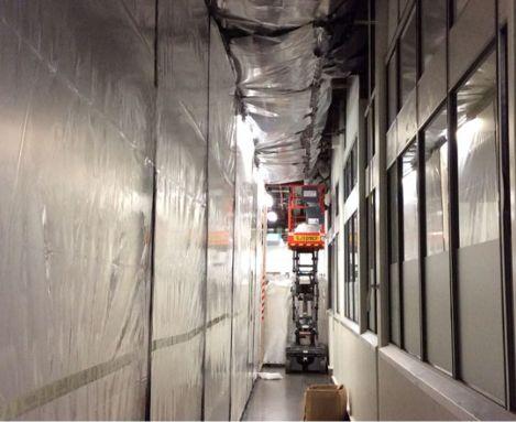 Hallway with asbestos