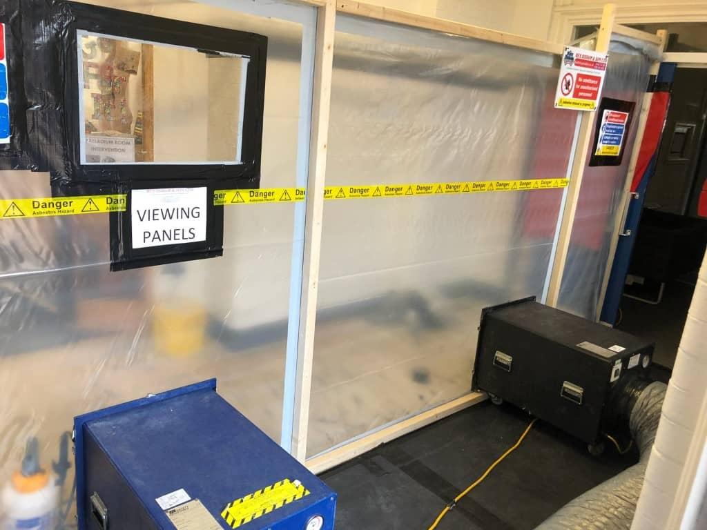 Asbestos removal tent inside Calton Primary School